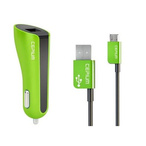 Cepium 2.1A Araç Şarjı ve Mikro USB Kablo-Yeşil - CC-1453/2_Y
