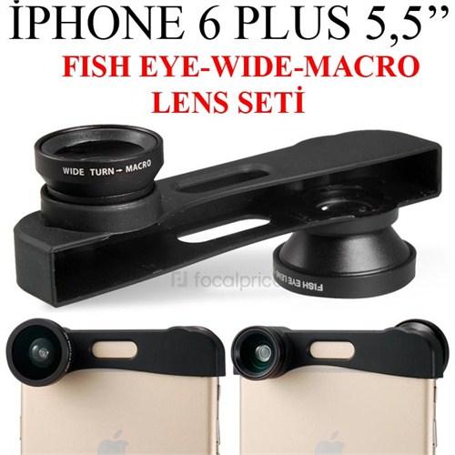 Markacase İphone 6 Plus 5,5 İnch Balık Göz+Wıde Angel+Macro Lens Seti