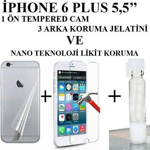 Markacase Apple İphone 6 Plus 5,5 Tempered+Arka Jelatin+Nano