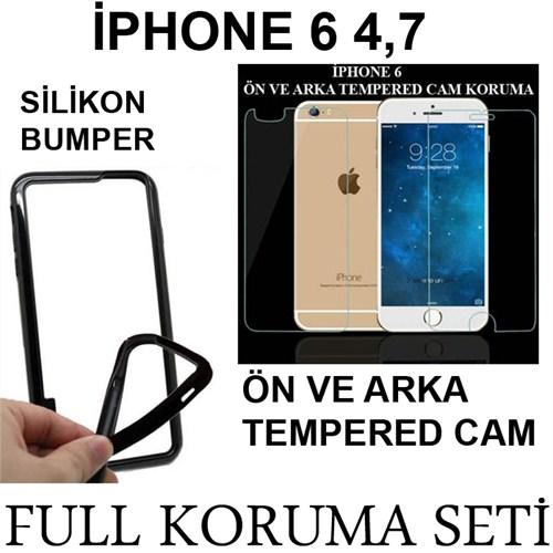 Markacase Apple İphone 6 4,7 Tempered Cam Ve Bumper Ekran Koruma Seti