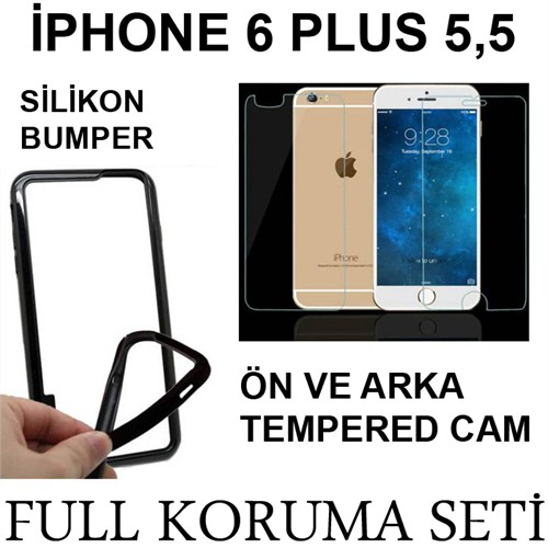 Markacase Apple İphone 6 Plus Tempered Cam Ve Bumper Ekran Koruma Seti