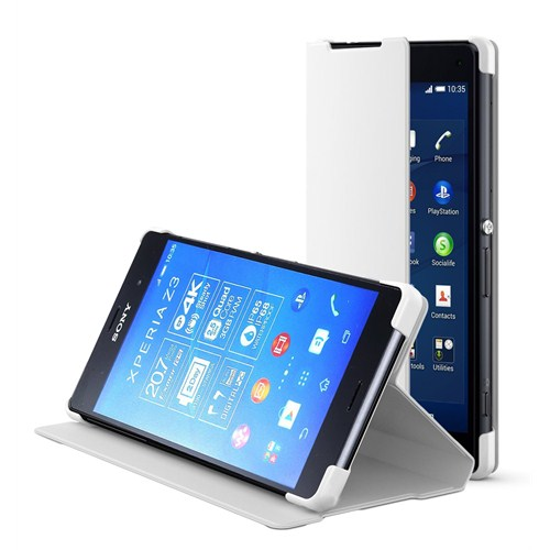 Microsonic Sony Xperia Z3 Slim Fit Standlı Flip Cover Kılıf Beyaz