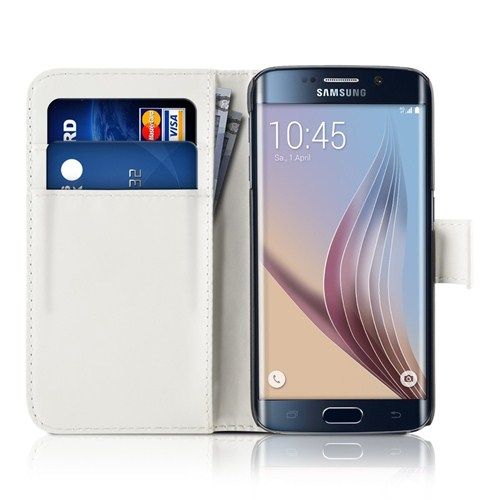 Microsonic Cüzdanlı Deri Samsung Galaxy S6 Edge Kılıf Beyaz