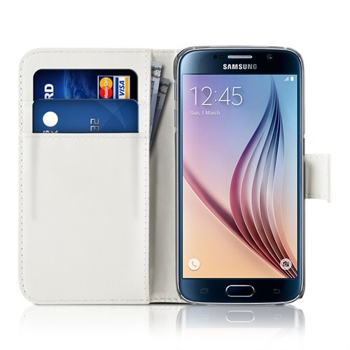 Microsonic Cüzdanlı Deri Samsung Galaxy S6 Kılıf Beyaz