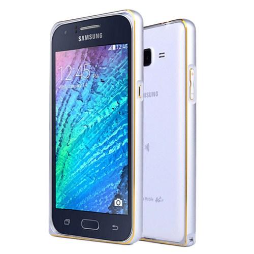 Microsonic Samsung Galaxy J1 Thin Metal Çerçeve Kılıf Gümüş