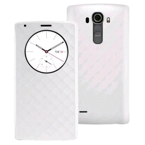 Microsonic Circle View Delux Kapaklı Lg G4 Kılıf Akıllı Modlu Beyaz