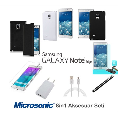 Microsonic Samsung Galaxy Note Edge Kılıf & Aksesuar Seti 8İn1