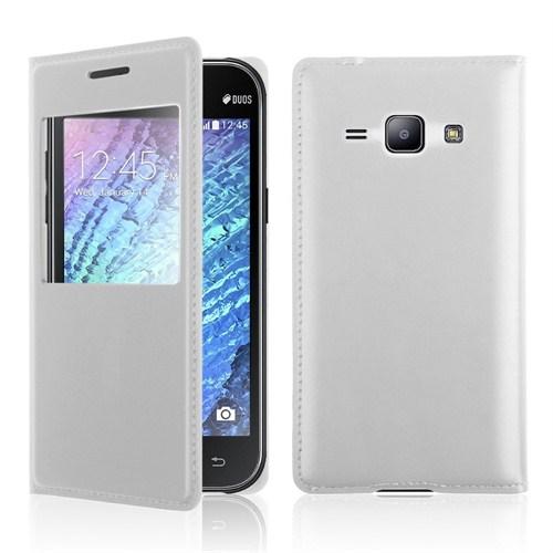 Microsonic View Slim Kapaklı Deri Samsung Galaxy J1 Kılıf Beyaz
