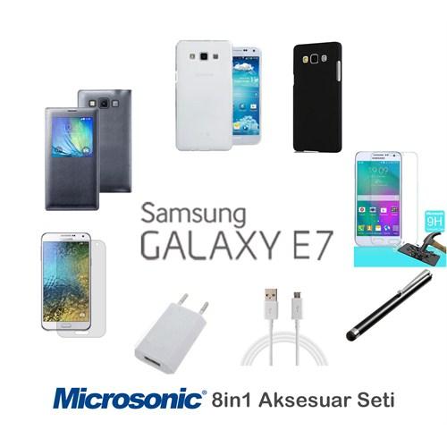 Microsonic Samsung Galaxy E7 Kılıf & Aksesuar Seti 8İn1
