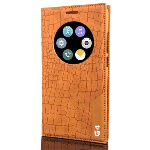 Cover Me Lg G4 Kılıf Akıllı Pencere Deri Kapaklı Rock Açık Kahverengi
