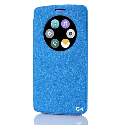 CoverZone Lg G4 Kılıf Akıllı Pencere Vantuzlu Kapaklı Mavi