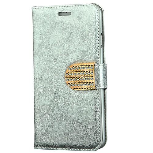 CoverZone İphone 6 Plus Kılıf Rugan Taşlı Cüzdan Gümüş
