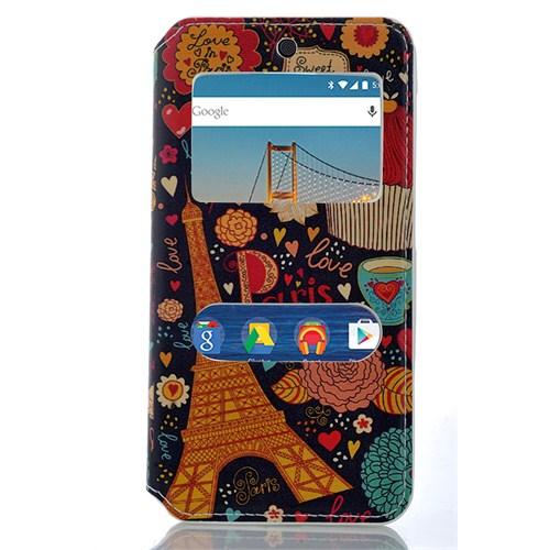 CoverZone General Mobile Android One 4G Kılıf Pencereli Paris