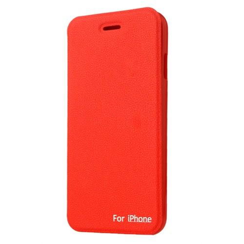 CoverZone İphone 6 Kılıf Kapaklı Vantuzlu Kırmızı