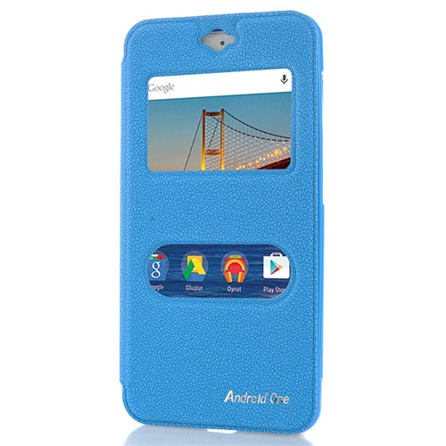 CoverZone General Mobile Android One 4G Kılıf Pencereli Standlı Mavi