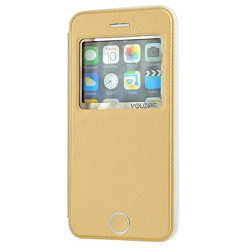 Yolope Apple İphone 6 Kılıf Orijinal Pencereli Altın Gold
