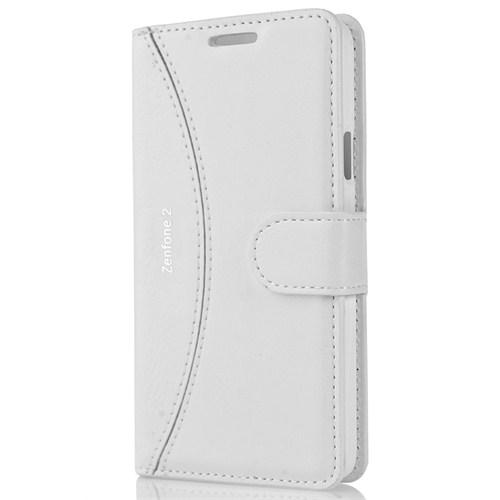 Cover Me Asus Zenfone 2 Kılıf Yan Kapaklı Cüzdan Beyaz