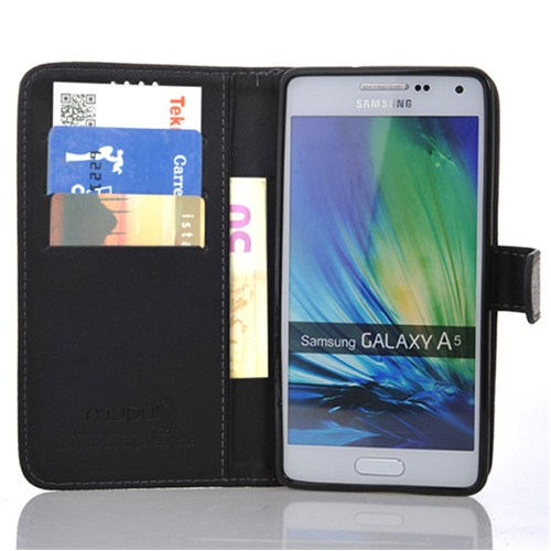 CoverZone Samsung Galaxy A5 Kılıf Kart Gözlü Cüzdan Siyah
