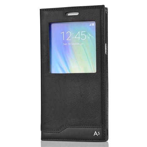 CoverZone Samsung Galaxy A5 Kılıf Süet Pencereli Milano Siyah