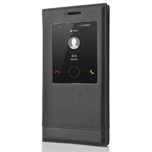 CoverZone Samsung Galaxy A5 Kılıf Akıllı Pencereli Milano Siyah