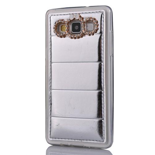 CoverZone Samsung Galaxy A5 Kılıf Delüx Taşlı Deri Gümüş
