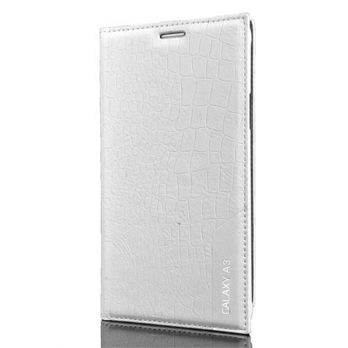 Cover Me Samsung Galaxy A3 Kılıf Düz Deri Rock Beyaz