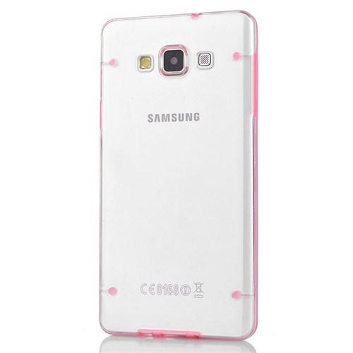 CoverZone Samsung Galaxy A7 Kılıf Şeffaf Noktalı Rubber Pembe
