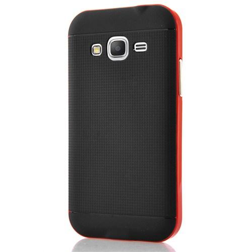 CoverZone Samsung Galaxy Core Prime Kılıf Hybrid Çift Katman Kırmızı