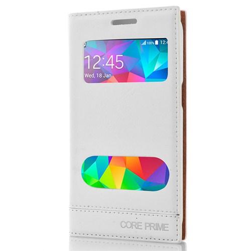 CoverZone Samsung Galaxy Core Prime Kılıf Pencereli Milano Beyaz