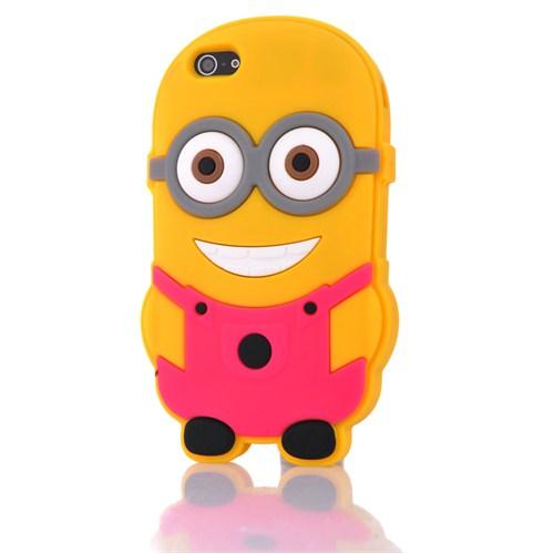 CoverZone Apple İphone 5 - 5S Kılıf Silikon Çılgın Hırsız Pembe