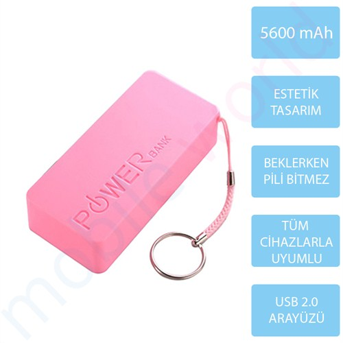 Mobile World Ora Series 5600 mAh Taşınabilir Şarj Cihazı Pembe - 2124