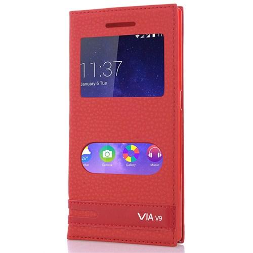 CoverZone Casper Via V9 Kılıf Pencereli Deri Kapaklı Blazer Kırmızı