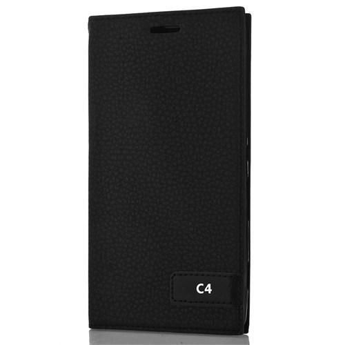 CoverZone Sony Xperia C4 Kılıf Safir Kapaklı Siyah