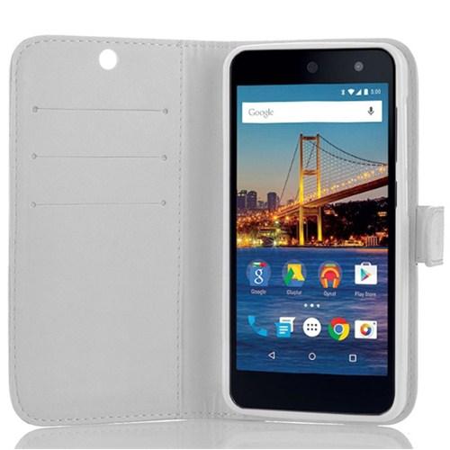 Microsonic General Mobile Android One 4G Cüzdanlı Deri Kılıf Beyaz