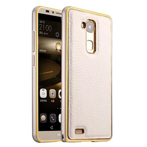 Microsonic Derili Metal Delüx Huawei Ascend Mate 7 Kılıf Beyaz