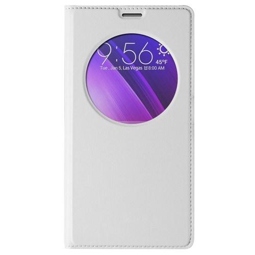 Microsonic Circle View Slim Deri Asus Zenfone 2 (5.5'') Kılıf Akıllı Beyaz