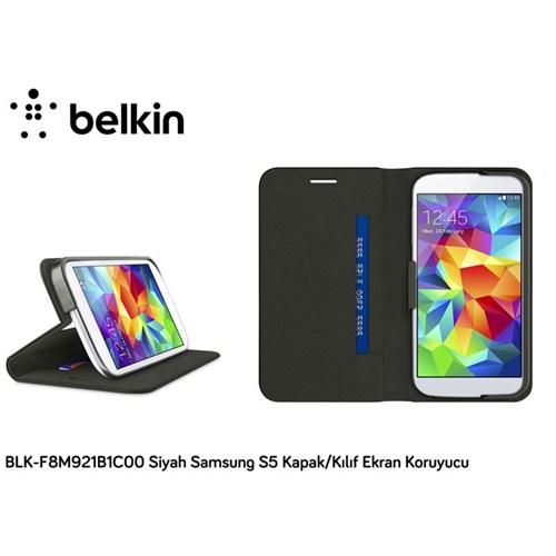 Belkin Blk-F8m921b1c00 Siyah Samsung S5 Kapak Kılıf Ekran Koruyucu