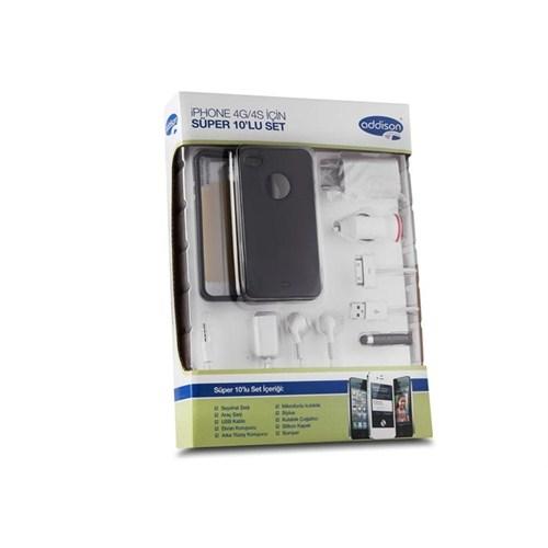 Addison Ip-589 Siyah Iphone 4G 4S Kılıfı Süper 10`Lu Set