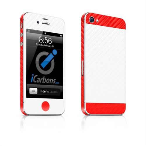 iCarbons Apple iPhone 4/4S Çift Renk 3M Beyaz-Kırmızı Karbon Kaplama Kılıf