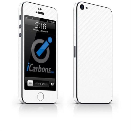 iCarbons Apple iPhone 5 Tek Renk 3M Beyaz Karbon Fiber Kılıf