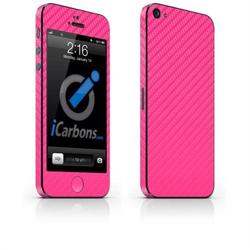 iCarbons Apple iPhone 5 Tek Renk 3M Pembe Karbon Fiber Kılıf