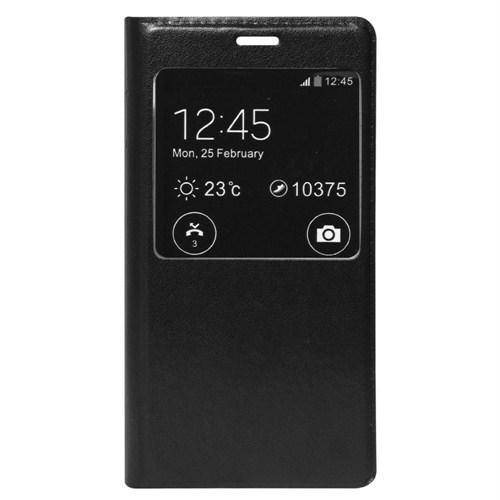 Case 4U Meizu MX4 Pro Pencereli Flip Cover Kılıf Siyah