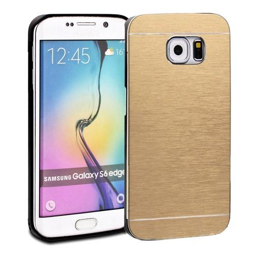 Microsonic Samsung Galaxy S6 Edge Kılıf Hybrid Metal Gold
