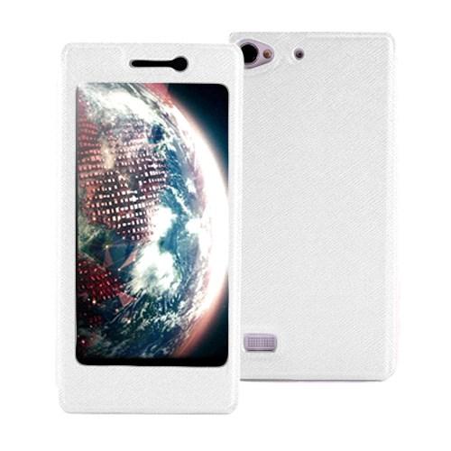 Microsonic Lenovo Vibe X2 Kılıf Full View Delux Kapaklı Beyaz