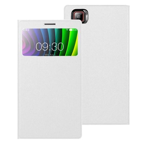 Microsonic Lenovo Vibe Z2 Pro Kılıf View Cover Delux Kapaklı Beyaz