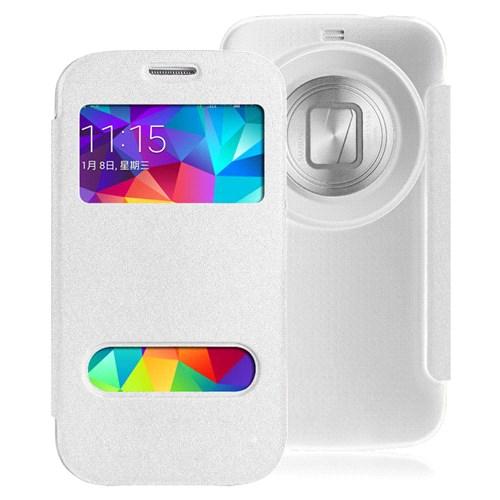 Microsonic Samsung Galaxy K Zomm (S5 Zoom) Kılıf Dual View Delux Kapaklı Beyaz