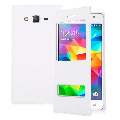Microsonic Samsung Galaxy Grand Prime Kılıf Dual View Delux Kapaklı Beyaz