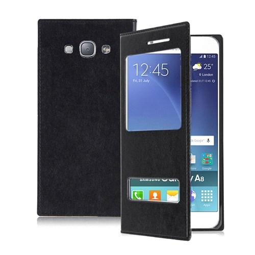 Microsonic Samsung Galaxy A8 Kılıf Dual View Delux Kapaklı Siyah