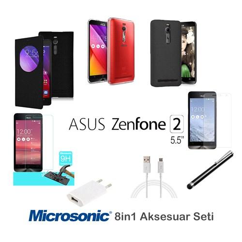 Microsonic Asus Zenfone 2 5.5'' Kılıf & Aksesuar Seti 8İn1
