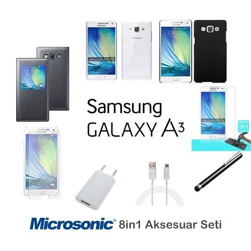 Microsonic Samsung Galaxy A3 Kılıf & Aksesuar Seti 8İn1